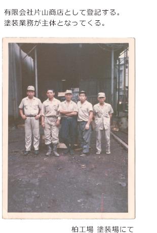 1980年 有限会社片山商店として登記する。 塗装業務が主体となってくる。柏工場 塗装場写真